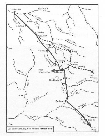 fra HHH Holstebro-Vejle-vejen Den stiplede del fører mod Horsens