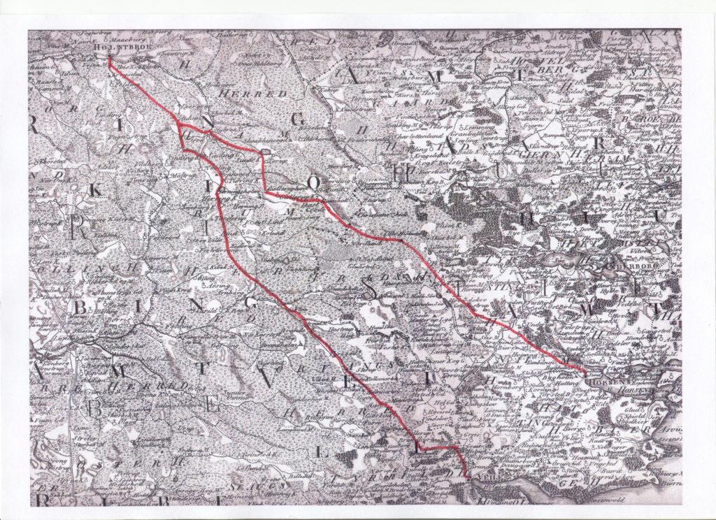 Vejene Holstebro-Horsens og Holstebro-Vejle er her farvet røde, så man bedre kan følge dem.