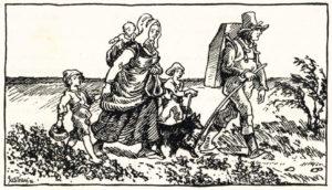En rakkerfamilie på den jyske hede.